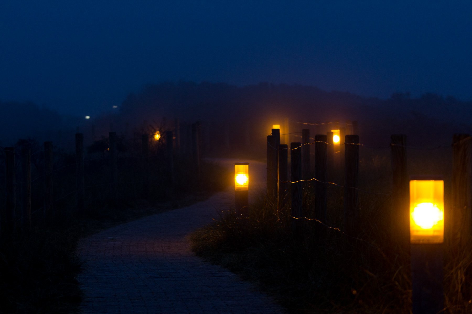 nacht, borkum im nebel