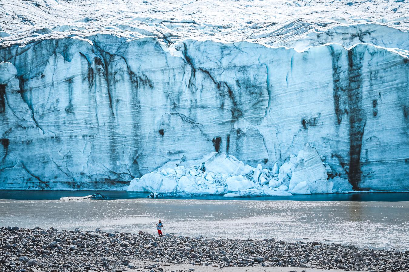 Russell Gletscher, Auslass des grönländischen Eispanzers, der eine maximale Dicke von of 3000 m aufweist. Kangerlussuaq, Westgrönland